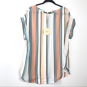 Lara Coral Teal Striped Short Sleeve Top NWOT 2X